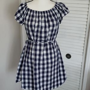 Navy & White Cotton Checker Dress, Size Large